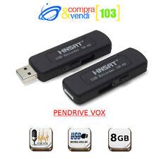 MICROSPIA REGISTRATORE AUDIO PENNA USB PENDRIVE 8 GB VOX ATTIVAZIONE VOCALE SPY