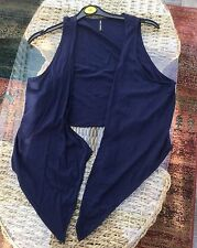 Marks & Spencer Navy Blue Light Sleeveless Wrap Top, Size 16 BNWOT