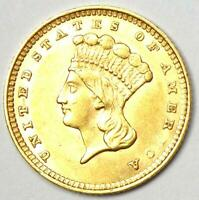 1857 Indian Gold Dollar Coin (G$1) - Choice AU / UNC MS Details  - Rare Coin!
