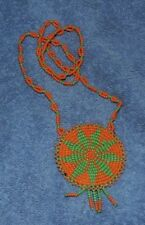"""Native American Art: Osage Indian Nation Hand Made Beaded 14"""" Necklace"""