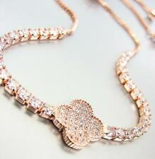 EXQUISITE 18kt Rose Gold Plated Pave CZ Crystals Clover Crystals Chain Bracelet