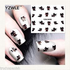 Nail Art Water Decals Transfers Red Cute Kitty Cats Kawaii Gel Polish 8496