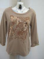 Dorothy Perkins Beige Sequin Tiger 3/4 Sleeve Sweatshirt Cotton Top Size 12
