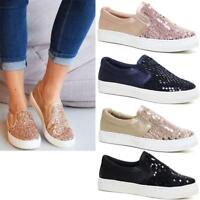 Ladies Womens Flat Slip On Glitter Summer Pumps Skate Fashion Trainers Shoes Siz
