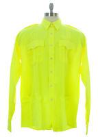FLYING CROSS Men's Neon Yellow Uniform Shirt 35W7899 $50 NEW