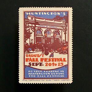 Plakat Briefmarke USA 1924 Huntington West Virginia Fall Festival Automobile