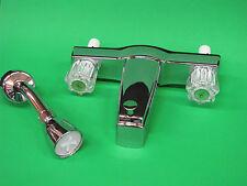 "Mobile Home RV Parts Tub/Shower Faucet ""OFF SET"" 2 Valve Diverter Chrome/Plastic"