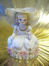 Very RARE Vintage Lefton Mary Quite Contrary Storybook Pink Girl Figurine