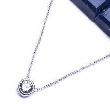 "FINE ROUND CZ .925 Sterling Silver Pendant Necklace 16-19"""