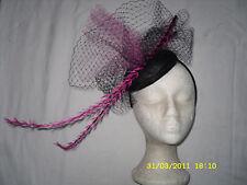 Chic nouveau rétro noir/rose pilulier bandeau hairband mariage/courses/parti