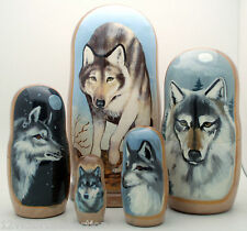 WOLF Russian Hand made Nesting DOLL 5 piece Set Very rare