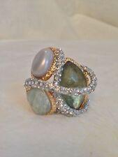 New ALEXIS BITTAR Green Quartz Maldivian Crystal Encrusted Ring - Size 7 / 8