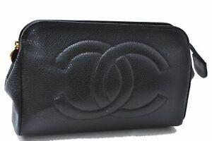 Authentic CHANEL Caviar Skin Pouch Black D4418