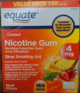 aNicotine Gum Stop Smoking Aid Fruit Flavor 4mg 160 Pieces Exp 04/2022 Equate