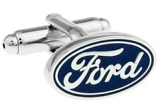 Ford Silver Blue Cufflinks Formal Business Wedding Gift for Suit Shirt Party