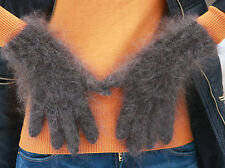 Size L 100% Longhair goat fluff Gloves hand knit Furry Fetish Mohair wool