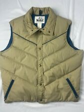 VTG WOOLRICH DOWN VEST beige / blue MENS LARGE western winter work jacket