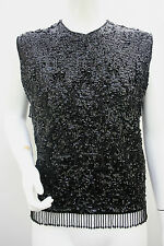 VINTAGE 50's Beaded Sequined Crop Top Jumper Wool Stretch Size 12 14