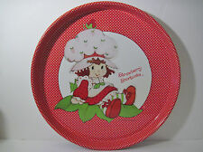 "Vtg 80s Strawberry Shortcake TV Table Tray American Greetings Round 13.75"" NICE"