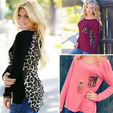 Fashion Womens Leopard Sweatshirt Blouse Top Long Sleeve Ladies Tops Tee T-Shirt