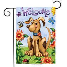 "Fm166 Welcome Dog Flowers Spring Summer Home 12""x18"" Garden Flag Banner"