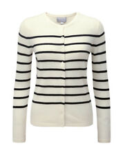 Pure Collection Crew Neck Cashmere Cardigan White/black Size UK 14 Lf170 EE 02