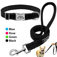Personalized Reflective Dog Collars & Leash Pet ID Name Collar Tags Engraved M L