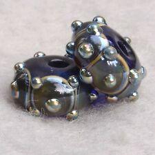 PASHA #2 Pair(2) Handmade Art Glass Beads Flaming Fools Lampwork Art Glass SRA