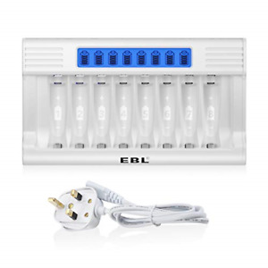 EBL Updated LCD 8 Slots Battery Charger for AA AAA Rechargeable Batteries, Super