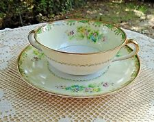 Vintage 1920's Noritake China Double Handle Soup Bowl & Plate Green M Floral