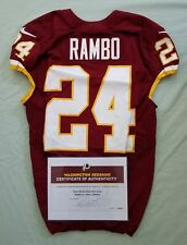 #24 Bacarri Rambo of Redskins NFL Game Used & Unwashed Jersey vs Chiefs WCOA