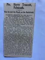 c7-2 ephemera 1915 ww1 article pte harry truscott falmouth france shell