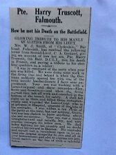 c7-2 ephemera 1915 ww1 article pte harry truscott falmouth france shell