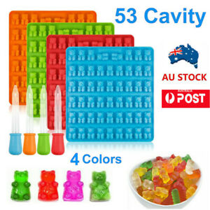 53 Cavity Silicone Gummy Bear Mold Candy Chocolate Jelly Ice Moulds Bakeware AU