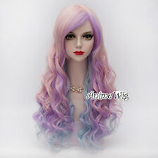 Pink Mixed Blue Purple 65CM Lolita Style Curly Anime Cosplay Fashion Hair Wig