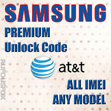 AT&T Unlock Code ALL Samsung Galaxy S2 S3 S4 S5 S6 S7 S8 Note 2,3,4,5 Tab 2,3