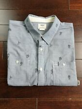 VANS OFF THE WALL Shirt Medium Blue White Micro Stripe & Print Casual VGC