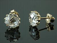 585 Gold  große Ohrstecker  mit 14 Krappen 1 Paar 8 mm Grösse mit  Zirkonia
