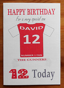 """ARSENAL FAN Unofficial PERSONALISED Football Birthday Card (""""THE GUNNERS"""")"""