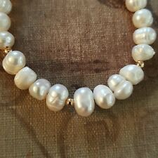 HANDMADE SEED PEARL BEAD BRACELET WITH 14K GOLD FILLED BEADS