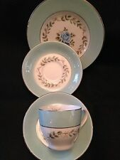 Barratts Delphatic Tableware, 1 Cup, 2 Saucers, 1 Salad Plate, Blue Rim & Roses