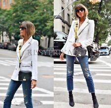 ZARA White Fantasy Tweed Double Breasted Blazer Jacket Gold Buttons M BNWT