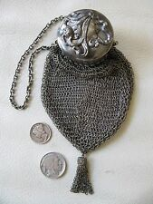 Antique Victorian Art Nouveau Woman Silver T Mesh Gate Top Chatelaine Purse