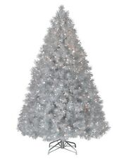 6ft (180cm) Christmas Tree With Colour Changing Fibre Optic Lights Silver Shinny