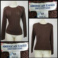 American Eagle Outfitters Woman Crochet Pull Over Sweater Size Small Brown