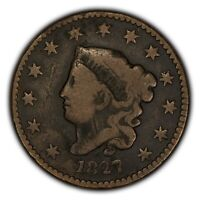 1827 1c Coronet Head Large Cent - Better Date - Rotated Die - Mid-Grade - Y2373