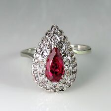 Natural Noble Red Spinel Art Deco Engagement Ring Ballerina Solitaire 14K 1930s