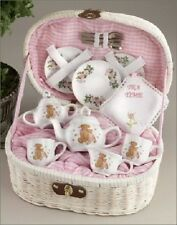 Delton Children's Porcelain Tea Set for 2 in Wicker Basket PINK BEAR