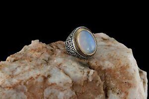 Moonstone Stone Ring  Turkish Handmade Ottoman Style 925 Sterling Men Size 12.5