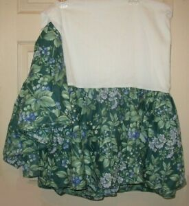 Laura Ashley Bramble Berry Queen Bed Skirt Ruffle Green Floral EXC COND